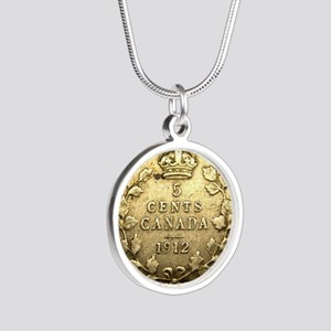 1912 CANADA 5 Cents STERLING Silver Round Necklace