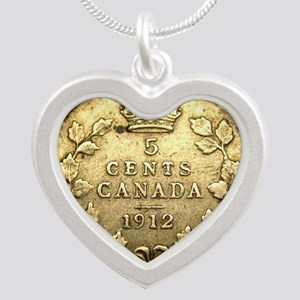 1912 CANADA 5 Cents STERLING Silver Heart Necklace