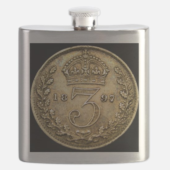 1897 Great Britain STERLING SILVER Three Pen Flask