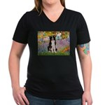Garden & Border Collie Women's V-Neck Dark T-Shirt