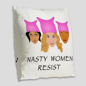 Nasty Women Resist Burlap Throw Pillow