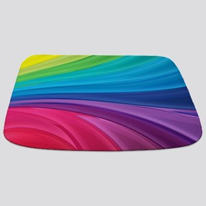 Rainbow Wave Swirls Bathmat