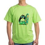 Surfing Penguin Green T-Shirt
