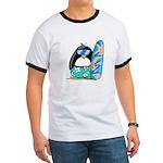 Surfing Penguin Ringer T