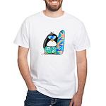 Surfing Penguin White T-Shirt