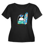 Surfing Penguin Women's Plus Size Scoop Neck Dark
