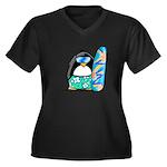 Surfing Penguin Women's Plus Size V-Neck Dark T-Sh