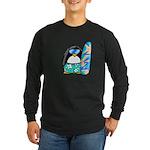 Surfing Penguin Long Sleeve Dark T-Shirt