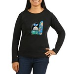 Surfing Penguin Women's Long Sleeve Dark T-Shirt