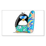 Surfing Penguin Rectangle Sticker