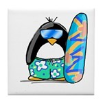 Surfing Penguin Tile Coaster
