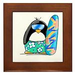 Surfing Penguin Framed Tile
