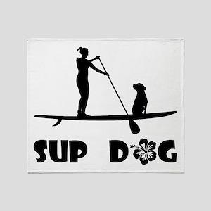 SUP Dog Sitting Throw Blanket