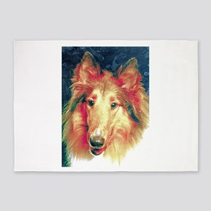 Painted sable collie 5'x7'Area Rug