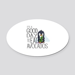 Its a Good Day to Eat Avocados Penguin Oval Car Ma