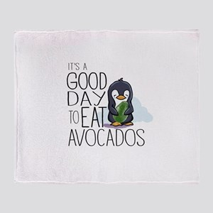 Its a Good Day to Eat Avocados Penguin Throw Blank