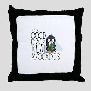 Its a Good Day to Eat Avocados Penguin Throw Pillo