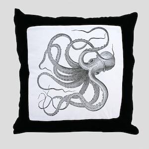 Vintage octopus steampunk nautical kr Throw Pillow
