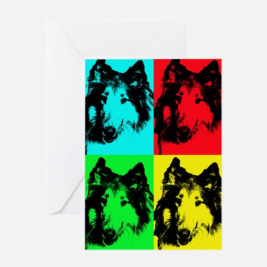 Pop Collie 2 Greeting Cards