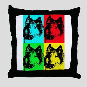 Pop Collie 2 Throw Pillow