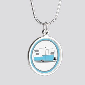 Blue and White Vintage Shasta Travel Trailer Neckl