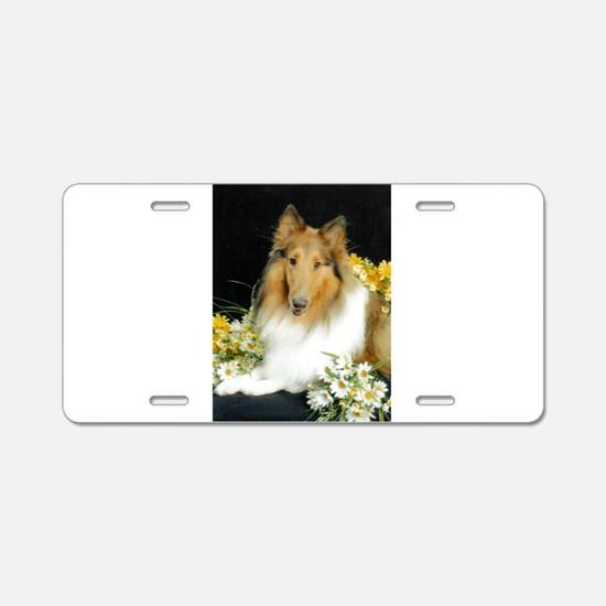 Collie Flowers Aluminum License Plate