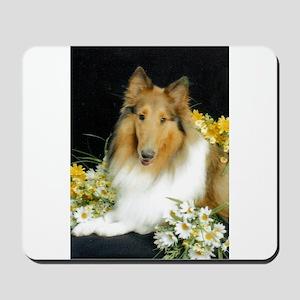 Collie Flowers Mousepad