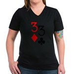 Pocket Threes Women's V-Neck Dark T-Shirt