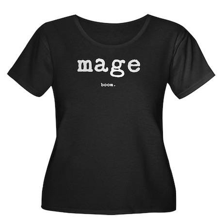 Mage Women's Plus Size Scoop Neck Dark T-Shirt