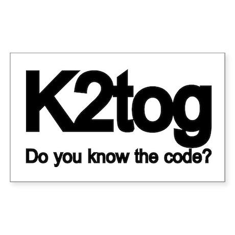 K2tog Knit Together Rectangle Sticker