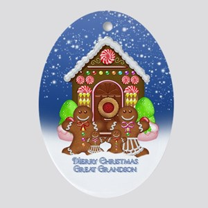 Great Grandson Christmas Gingerbread Oval Ornament