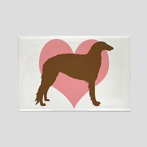 Borzoi Dog Heart Rectangle Magnet