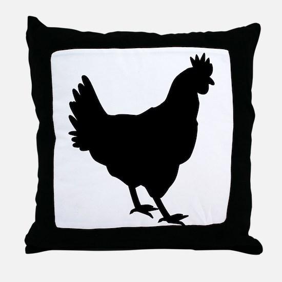 Chicken Silhouette Throw Pillow