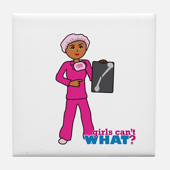 X-Ray Tech Dark Pink Scrubs Tile Coaster