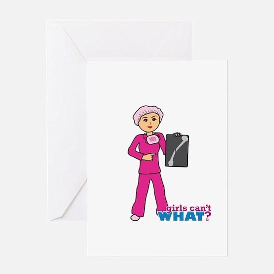 X-Ray Tech Medium Pink Scrubs Greeting Card