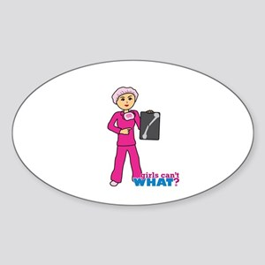 X-Ray Tech Medium Pink Scrubs Sticker (Oval)