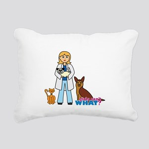Woman Veterinarian Blonde Hair Rectangular Canvas