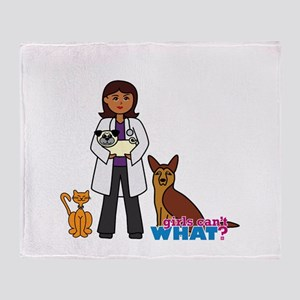 Woman Veterinarian Dark Brown Hair Throw Blanket