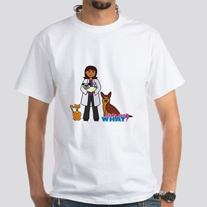 Woman Veterinarian Dark Brown Hair White T-Shirt