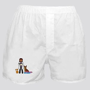 Woman Veterinarian Dark Brown Hair Boxer Shorts