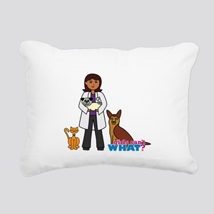 Woman Veterinarian Dark Brown Hair Rectangular Can