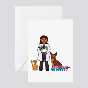 Woman Veterinarian Dark Brown Hair Greeting Card