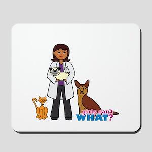 Woman Veterinarian Dark Brown Hair Mousepad