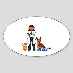Woman Veterinarian Dark Brown Hair Sticker (Oval)