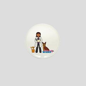 Woman Veterinarian Dark Brown Hair Mini Button