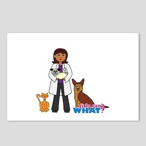 Woman Veterinarian Dark Brown Hair Postcards (Pack