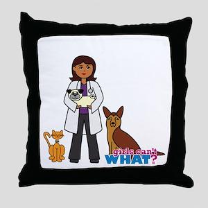 Woman Veterinarian Dark Brown Hair Throw Pillow