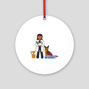 Woman Veterinarian Dark Brown Hair Ornament (Round