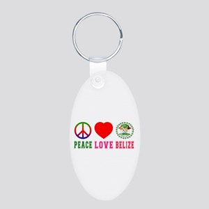 Peace Love Belize Aluminum Oval Keychain