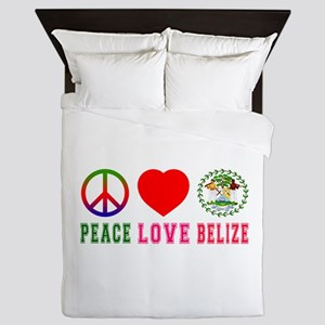 Peace Love Belize Queen Duvet